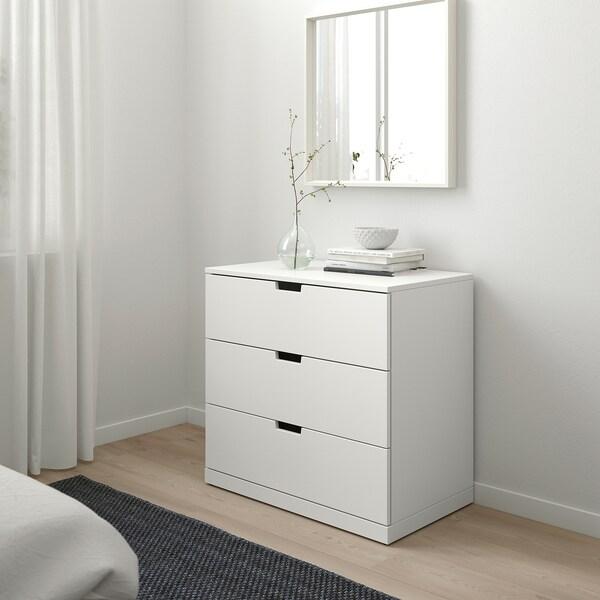 """NORDLI 3-drawer chest white 31 1/2 """" 18 1/2 """" 29 7/8 """" 15 3/8 """""""