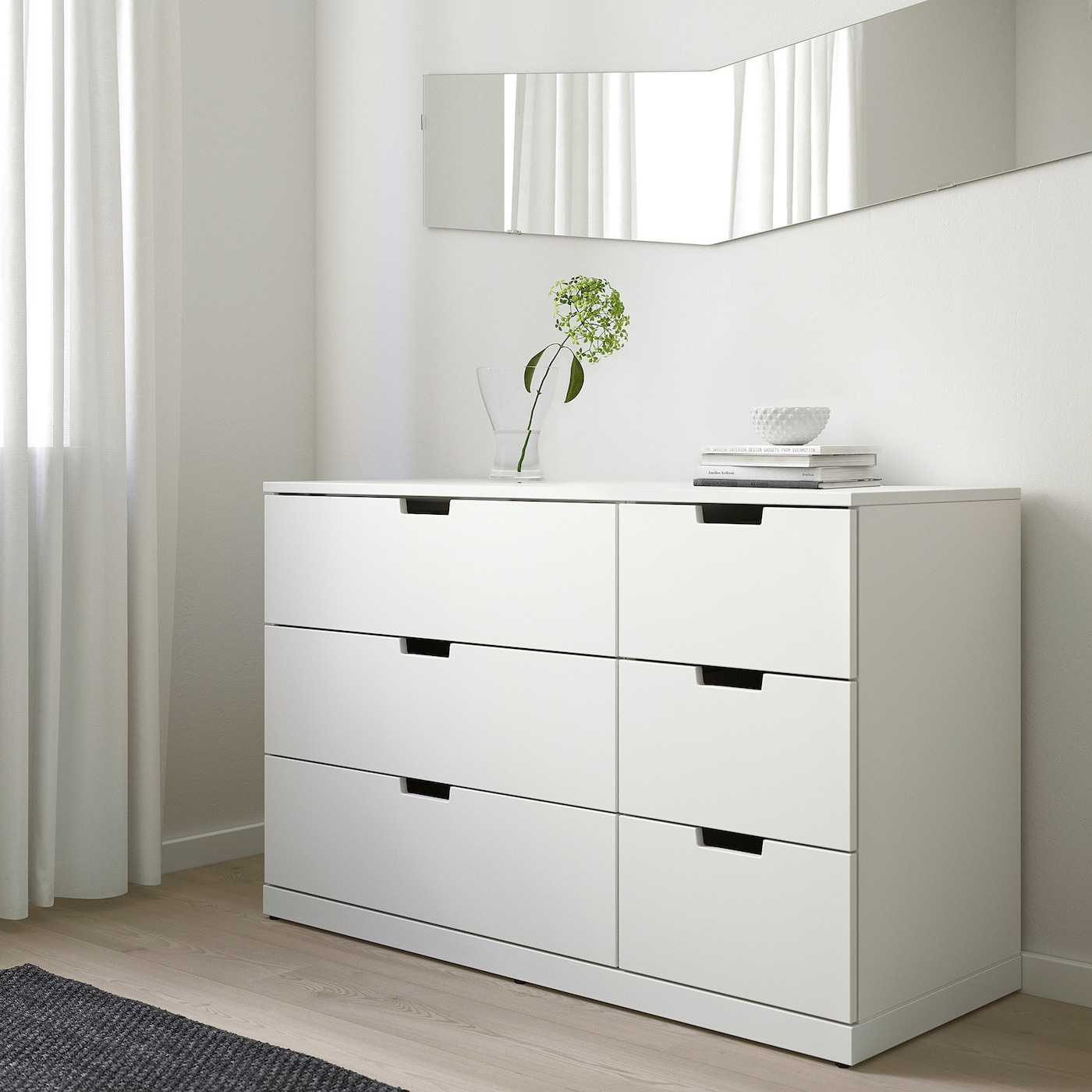 """NORDLI 6-drawer dresser white 47 1/4 """" 18 1/2 """" 29 7/8 """" 15 3/8 """""""