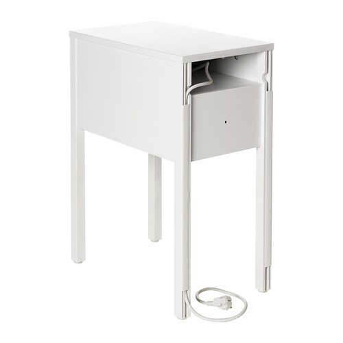 NORDLI Nightstand IKEA On the hidden shelf is room for an outlet strip for your chargers.