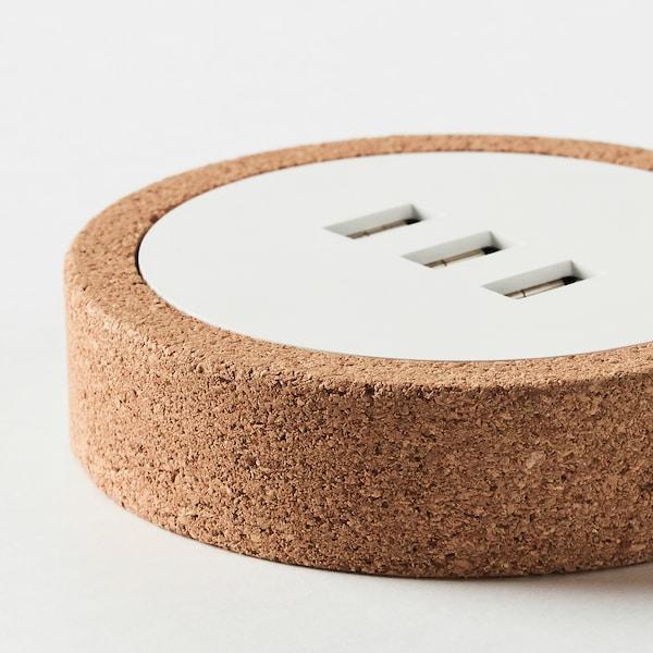NORDMÄRKE USB charger, white/cork