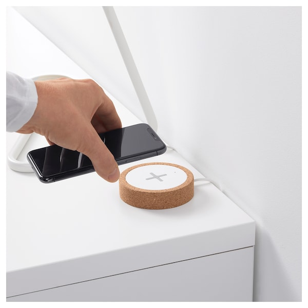 "NORDMÄRKE wireless charger white/cork 1 "" 3 "" 6 ' 3 """