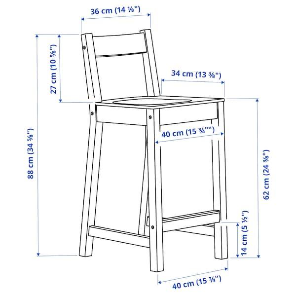 """NORDVIKEN Bar stool with backrest, black, 24 3/8 """""""