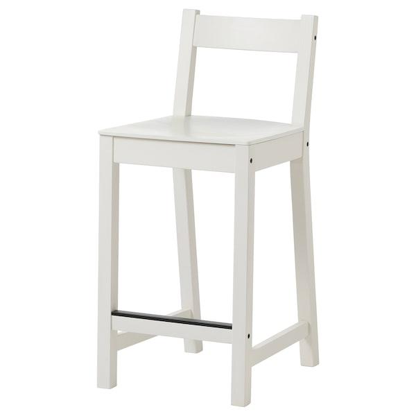 """NORDVIKEN Bar stool with backrest, white, 24 3/8 """""""