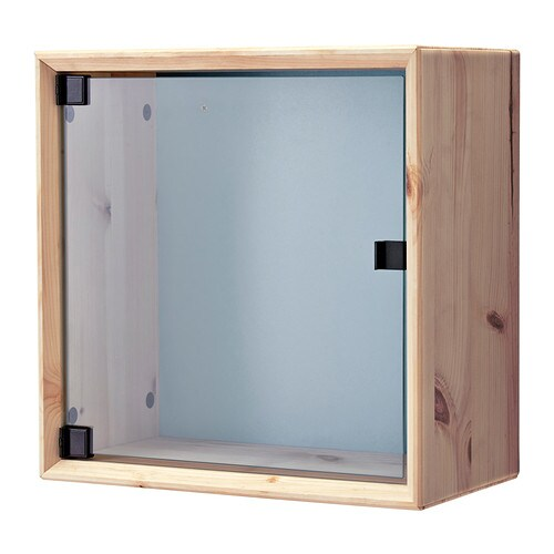 Norn S Glass Door Wall Cabinet Pine Gray Blue Ikea