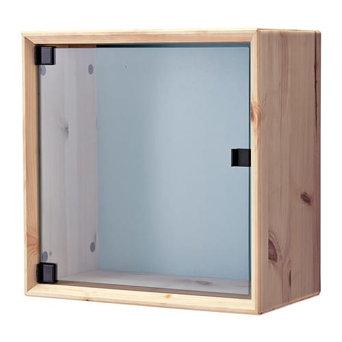 Norn s glass door wall cabinet pine gray blue ikea for Ikea glass door wall cabinet