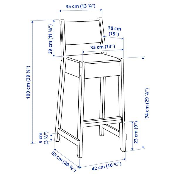 "NORRÅKER Bar stool with backrest, birch, 29 1/8 """