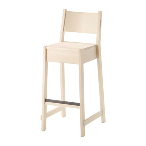 NORRÅKER Bar stool with backrest, white birch