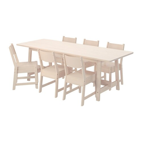 NORRÅKER / NORRÅKER Table And 6 Chairs, White Birch, White Birch