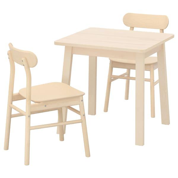 "NORRÅKER / RÖNNINGE Table and 2 chairs, birch/birch, 29 1/8x29 1/8 """