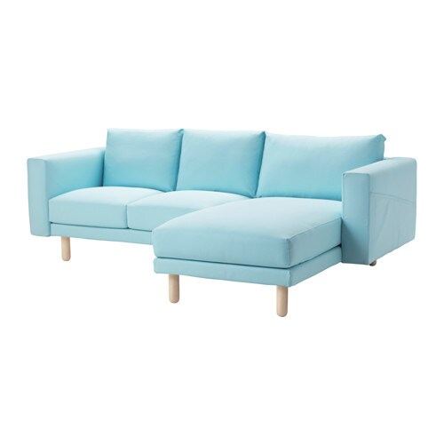 Norsborg loveseat with chaise edum light blue birch ikea for Blue sectional sofa with chaise