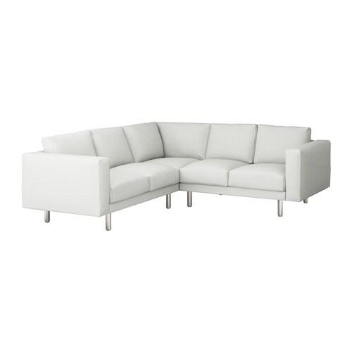 NORSBORG Sectional, 4-seat corner, Finnsta white white/metal Finnsta white metal