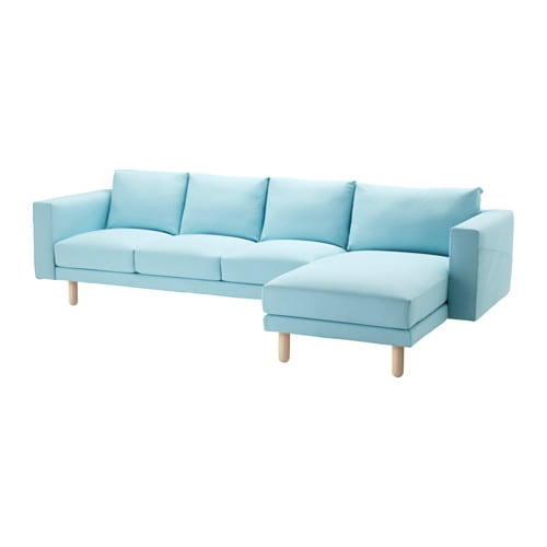 Norsborg sofa and chaise edum light blue birch ikea for Blue sectional with chaise