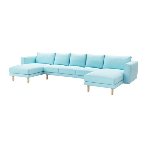 Norsborg sofa with 2 chaises edum light blue birch ikea for Chaises transparentes ikea