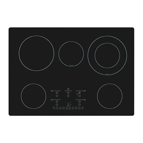 NUTID 5 element glass ceramic cooktop, black