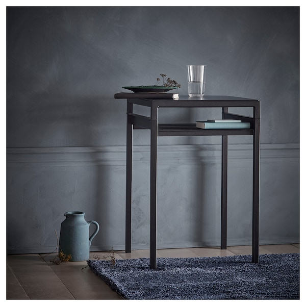 NYBODA Side table w reversible table top, dark gray concrete effect/black, 15 3/4x15 3/4x23 5/8 ""