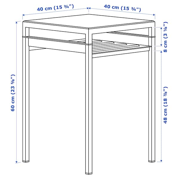 """NYBODA Side table w reversible table top, light gray concrete effect/white, 15 3/4x15 3/4x23 5/8 """""""
