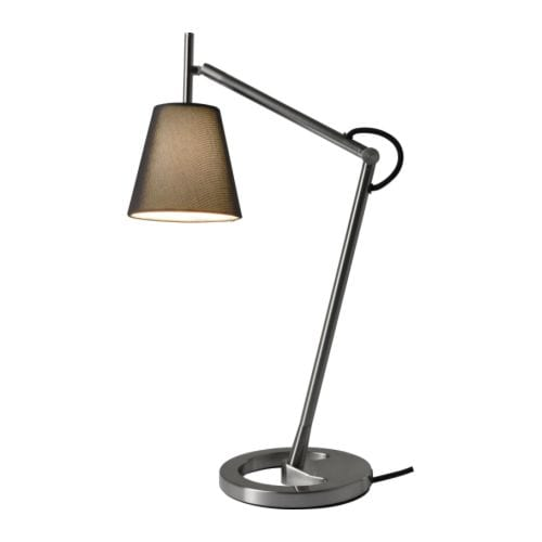 NYFORS Work lamp IKEA Adjustable arm and head makes it easy to direct the light.  Gives both directed and diffused light.