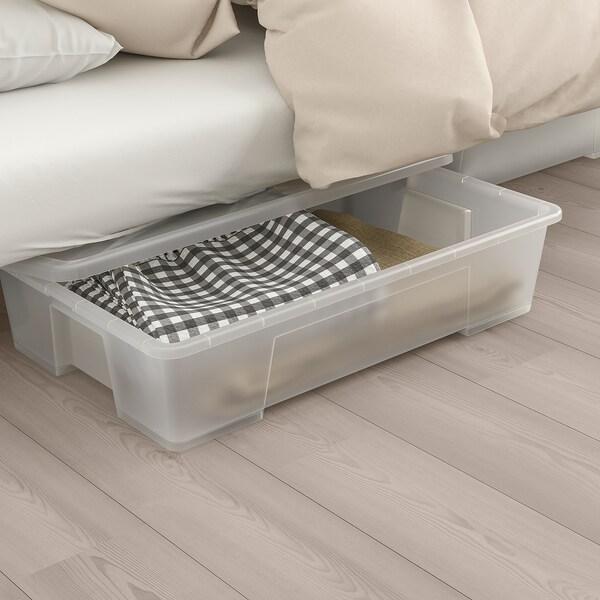 NYHAMN Sleeper sofa, with pocket spring mattress/Knisa gray/beige