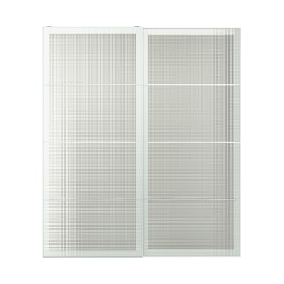 "NYKIRKE pair of sliding doors frosted glass, check pattern 78 3/4 "" 92 7/8 "" 3 1/8 "" 7/8 """