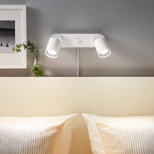 "NYMÅNE wall lamp double with light bulbs white 8 W 11 "" 3 "" 3 "" 7 ' 7 """