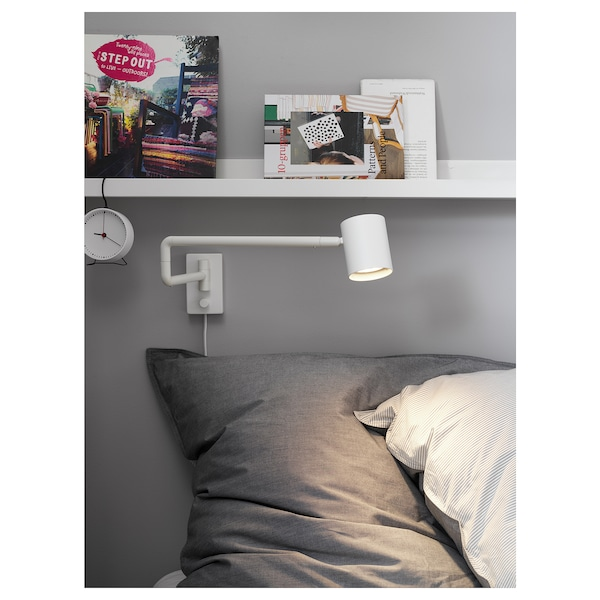 NYMÅNE Wall lamp with swing arm + LED bulb, white