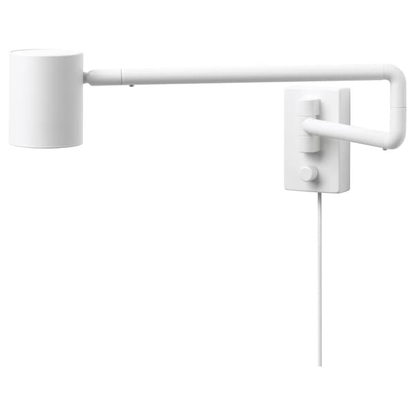NYMÅNE Wall lamp with swing arm, white