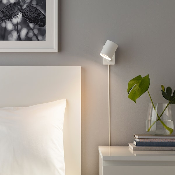 """NYMÅNE wall/reading lamp with LED bulb white 8 W 4 """" 3 """" 8 ' 2 """""""