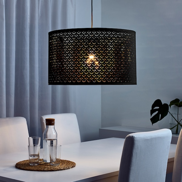 NYMÖ Lamp shade, black/brass color, 23 ""