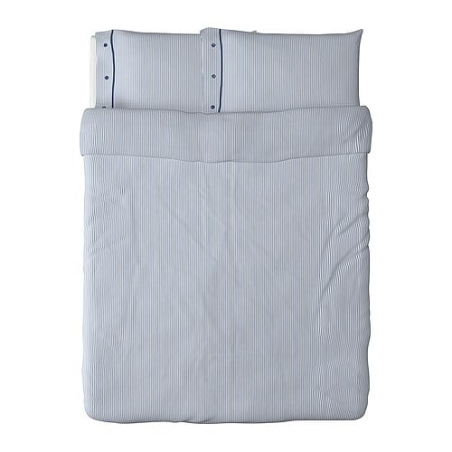 "NYPONROS Duvet cover and pillowcase(s), white/blue Duvet cover length: 86 "" Duvet cover width: 86 "" Pillowcase length: 20 "" Pillowcase width: 30 ""  Duvet cover length: 218 cm Duvet cover width: 218 cm Pillowcase length: 51 cm Pillowcase width: 76 cm"