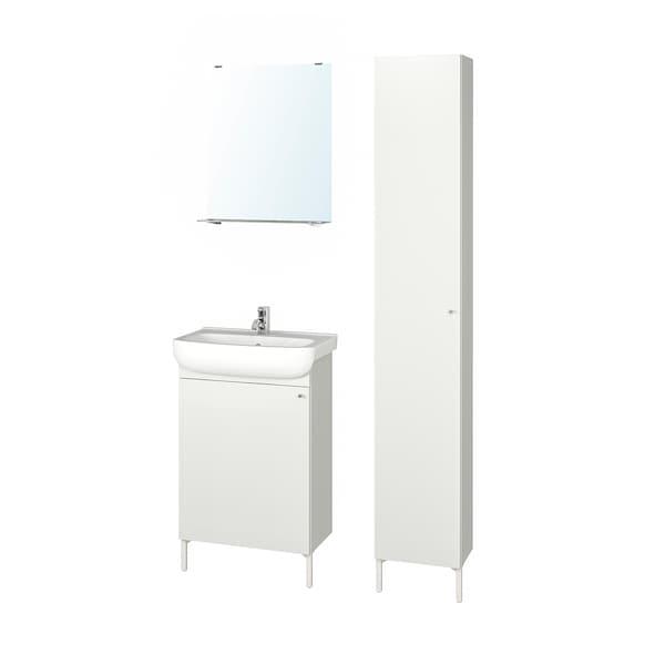 "NYSJÖN / BJÖRKÅN Bathroom furniture, set of 6, white/Pilkån faucet, 21 1/4x15 3/4x38 5/8 """