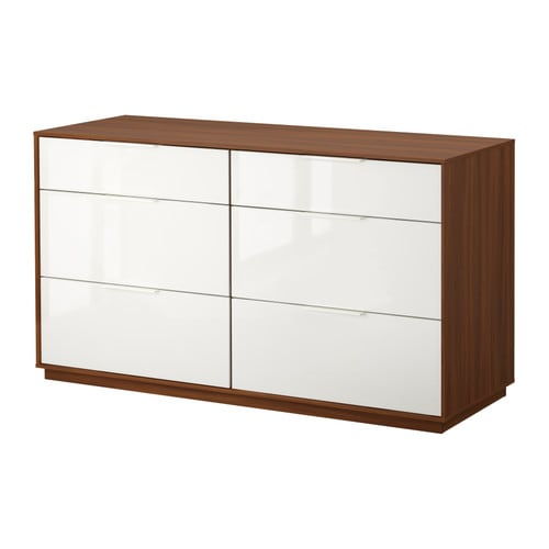 NYVOLL 6-drawer dresser IKEA Drawers with integrated damper that catches the closing drawers so that they close slowly, silently and softly.