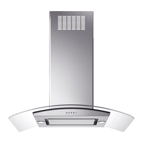 OBEROENDE Ceiling-mounted extractor hood, Stainless steel, glass