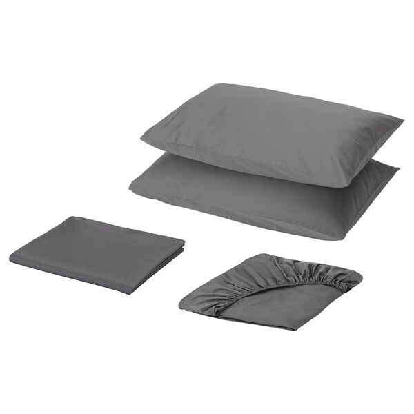 ÖKENSTJÄRNA Sheet set, dark gray, Queen