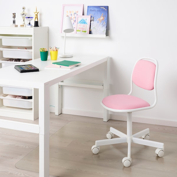 Orfjall Child S Desk Chair White Vissle Pink Ikea