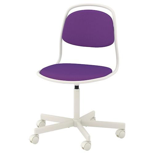 "ÖRFJÄLL swivel chair white/Vissle purple 243 lb 26 3/4 "" 26 3/4 "" 37 "" 19 1/4 "" 16 7/8 "" 18 1/8 "" 22 7/8 """