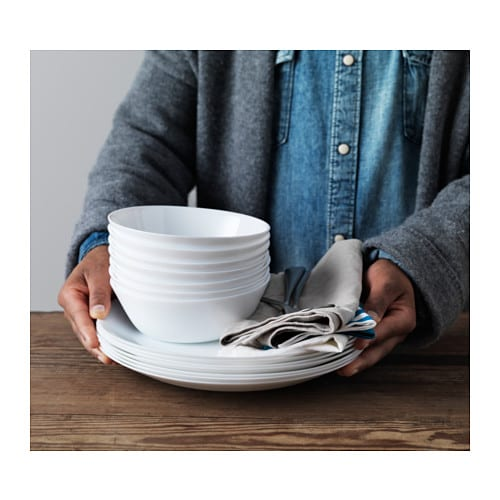 OFTAST Bowl IKEA Made of tempered glass, which makes the bowl durable and extra resistant to impact.  Dishwasher and microwave-safe.