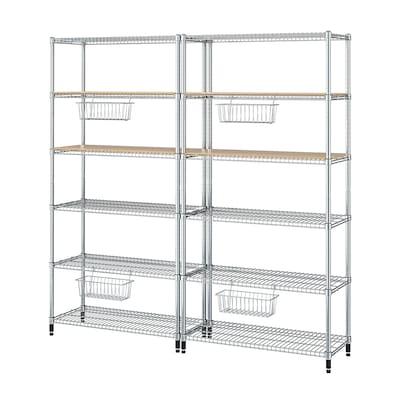 "OMAR 2 section shelving unit, bamboo, 77 1/2x14 1/8x71 1/4 """