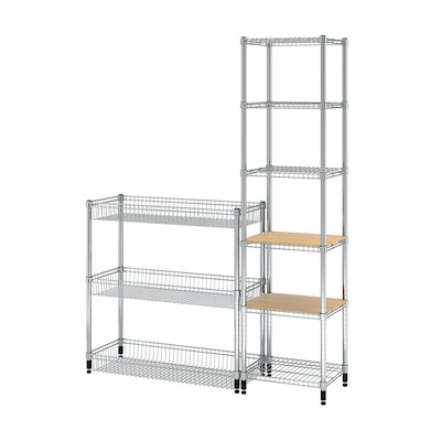 """OMAR 2 section shelving unit, with 2 covers for shelves, 55 1/8x14 1/8x37-71 1/4 """""""