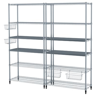 OMAR 2 section shelving unit, 77 1/2x14 1/8x71 1/4 ""