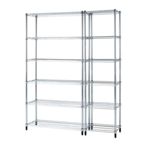 OMAR 2 section shelving unit IKEA Easy to assemble – no tools required.  Also stands steady on an uneven floor since the feet can be adjusted.