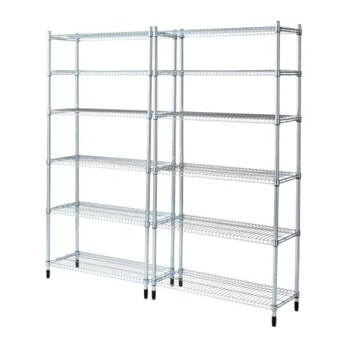 OMAR 2 shelf sections IKEA Easy to assemble – no tools required.  Also stands steady on an uneven floor since the feet can be adjusted.