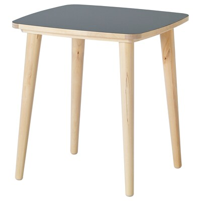 """OMTÄNKSAM Side table, anthracite/birch, 21 5/8x21 5/8 """""""