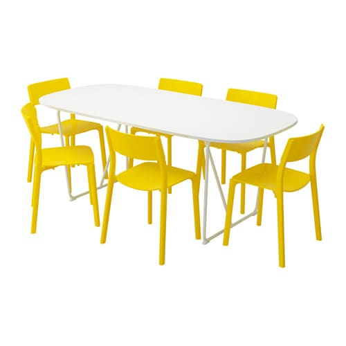 OPPEBY/BACKARYD / JANINGE Table and 6 chairs, white, yellow