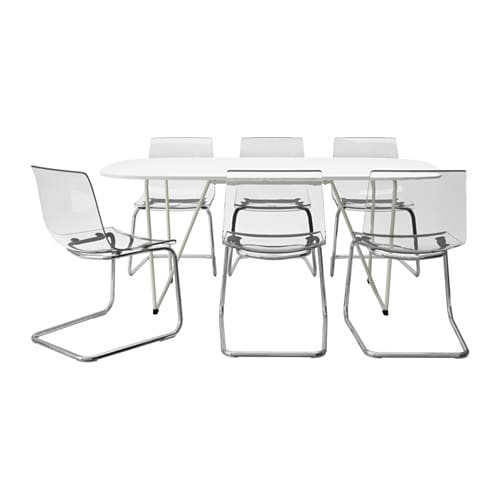 OPPEBY/BACKARYD / TOBIAS Table and 6 chairs, white, chrome plated clear