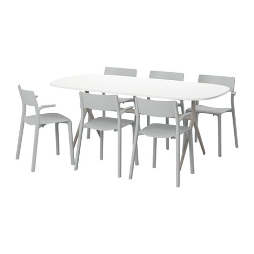OPPEBY/OPPMANNA / JANINGE Table and 6 chairs, high gloss white, gray