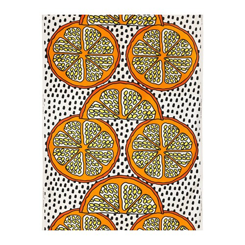 ORANGELILJA Fabric, orange, white/black