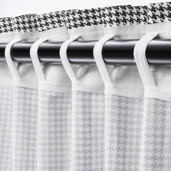 "ORDENSFLY Curtains, 1 pair, white/dark gray, 57x98 """
