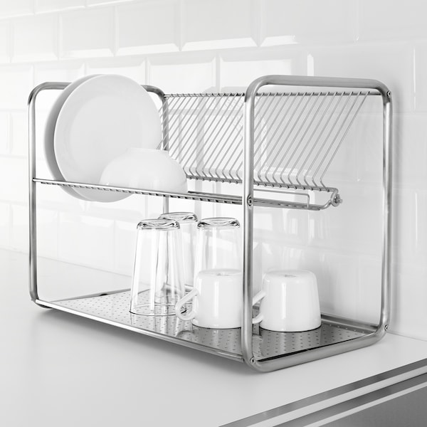 """ORDNING Dish drainer, stainless steel, 19 5/8x10 5/8x14 1/8 """""""