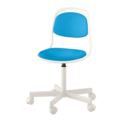 ÖRFJÄLL Child's desk chair, white, Vissle bright blue white/Vissle bright blue -