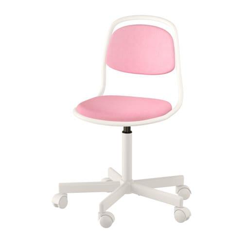 ÖRFJÄLL Child's desk chair, white, Vissle pink white/Vissle pink -